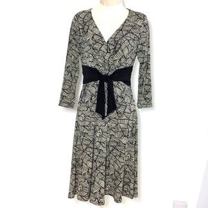 Jones New York Dress Black Creme Geometric 6P